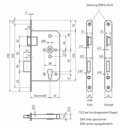 Abmessungen + Maße Panikschloss für Innentüren