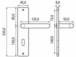 Maße für Türgarnitur Diadem vom Hersteller Schößmetall