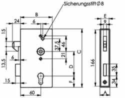 Abmessungen Einschweißschlosskasten mit 2 PZ-Lochungen
