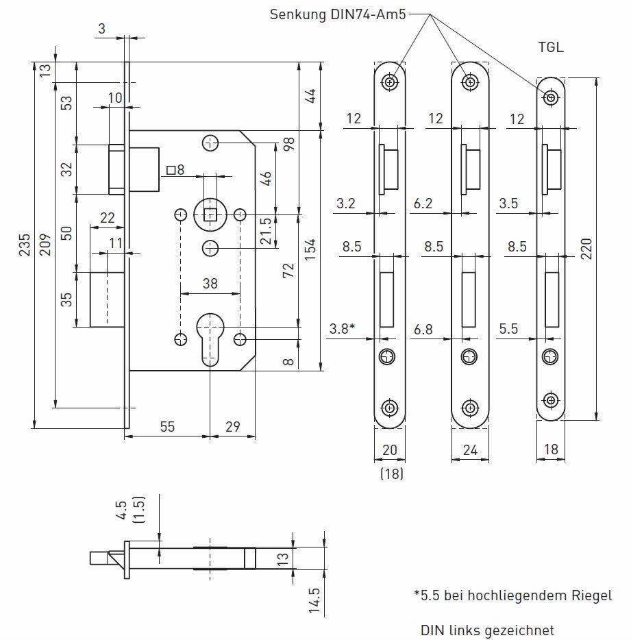 Standardmaß haustür  Einsteckschloss für Holztüren in allen Abmessungen und Maßvarianten