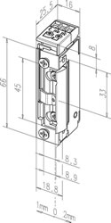 Maßzeichnung Türöffner 11805RR